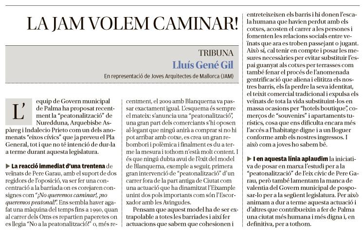 La JAM volem caminar! - Diario de Mallorca